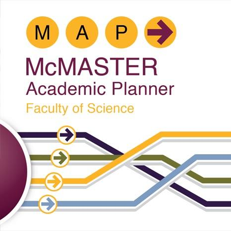 Image of the M.A.P. (McMaster Academic Planner) website which includes a giant orb with the text 'Your Jounrey Starts Here' written in the center