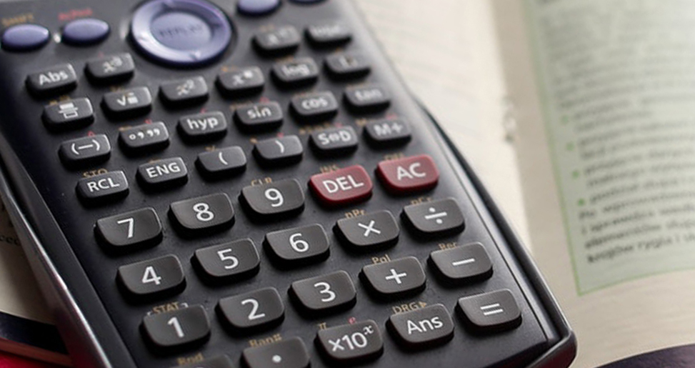 Close up view of a calculator.